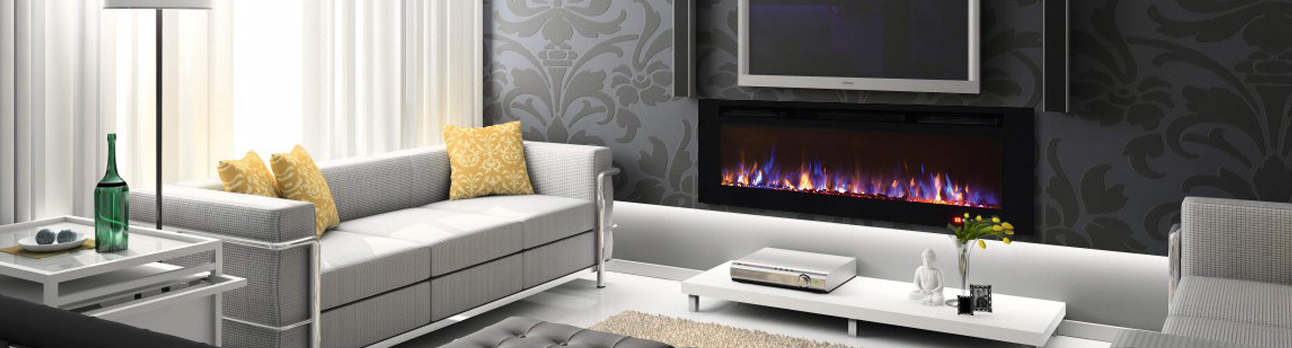 Recessed built in electric fireplaces