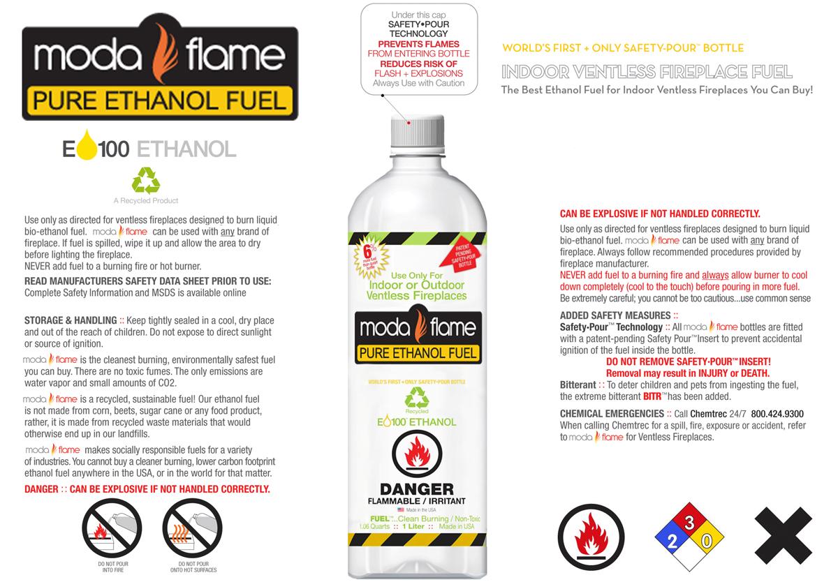 Moda Flame Premium Indoor Outdoor Bio Ethanol Fireplace Fuel   24 Liters