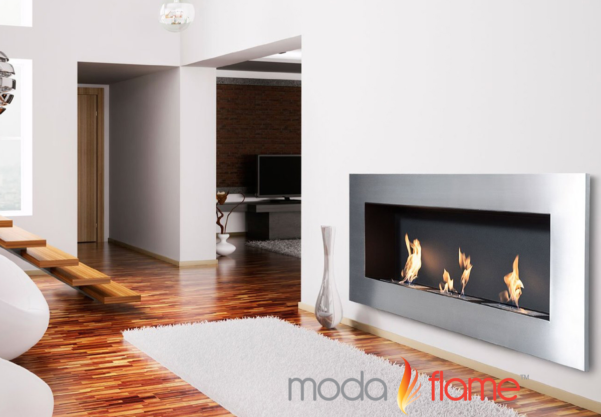 hudson recessed wall mounted ethanol fireplace -