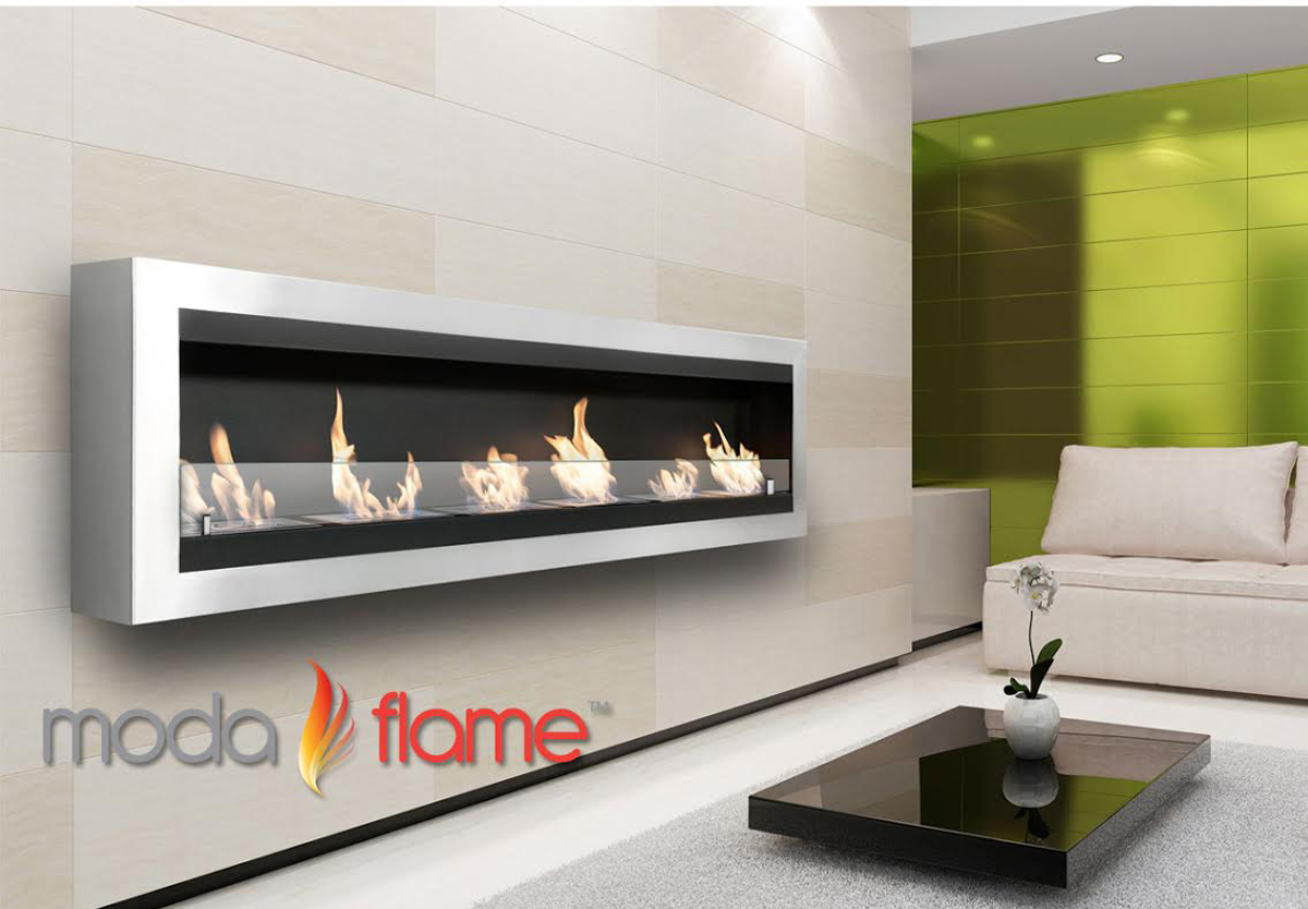 verrazano wall mounted ethanol fireplace in stainless steel -