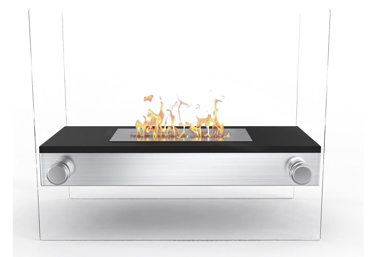 palermo h indoor outdoor firepit bio ethanol fireplace black -