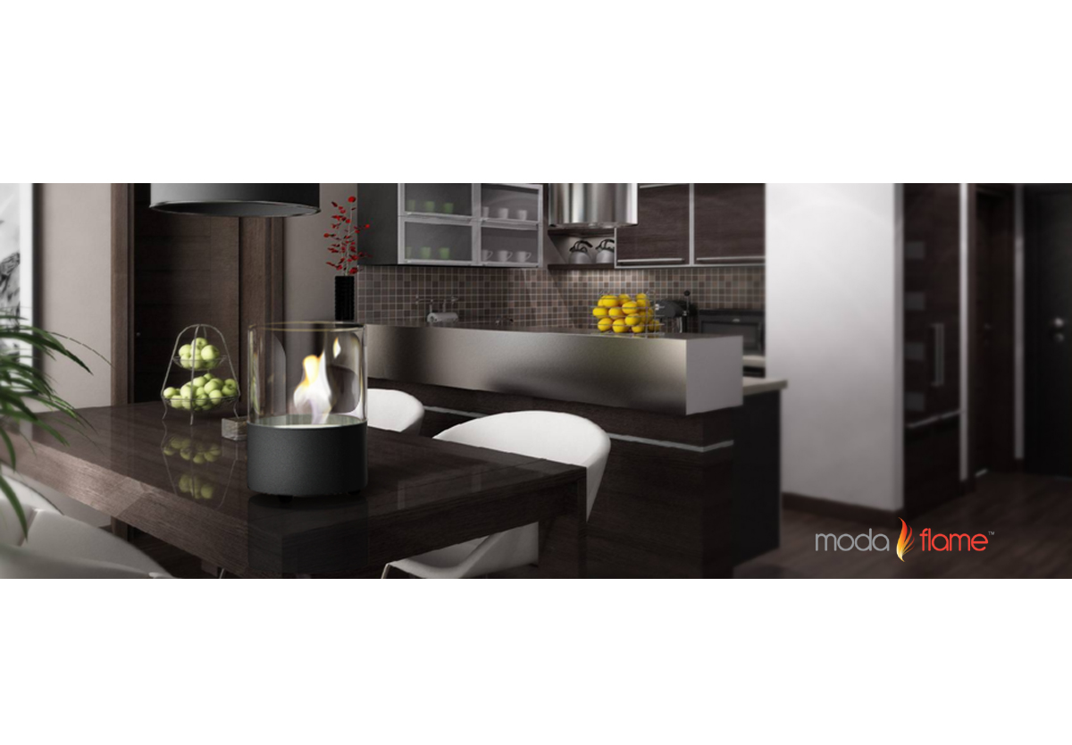 lit table top firepit bioethanol fireplace in black -