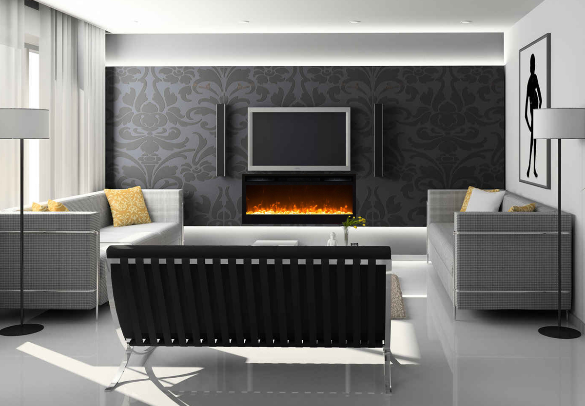 36 Inch Cynergy Crystal Built In Recessed Wall Mounted Electric Fireplace  Built In Electric Fireplace