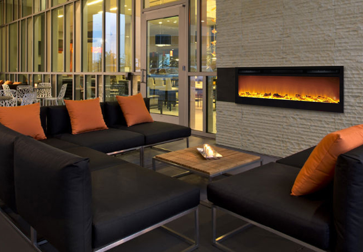 35 Inch Cynergy Log Built-In Recessed Wall Mounted Electric Fireplace