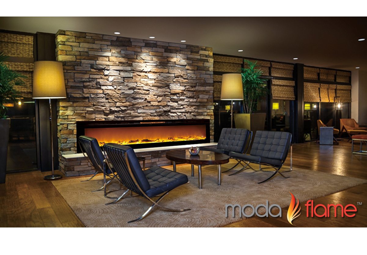 72 Inch Recessed Cynergy XXL Log Built In Wall Mounted Electric Fireplace