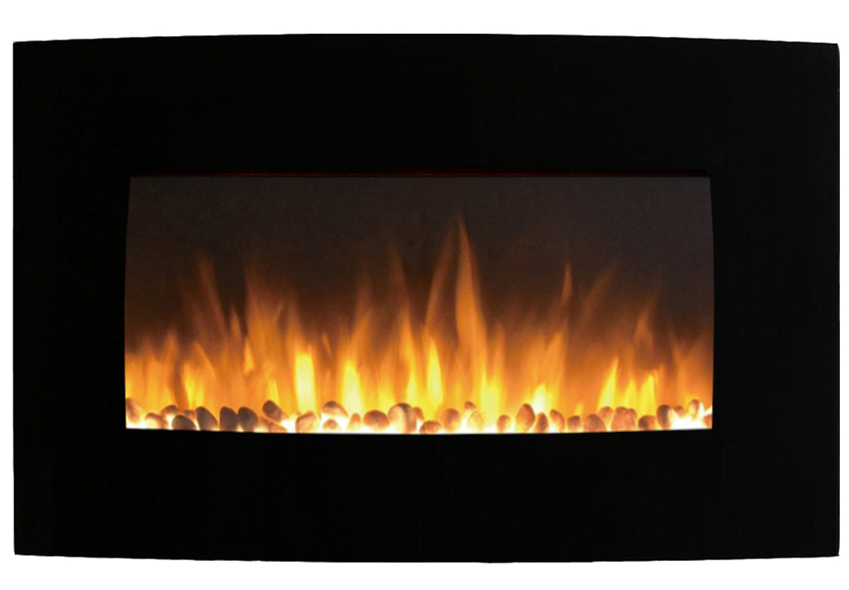 inch curved pebble wall mounted electric fireplace - chelsea  inch curved pebble wall mounted electric fireplace