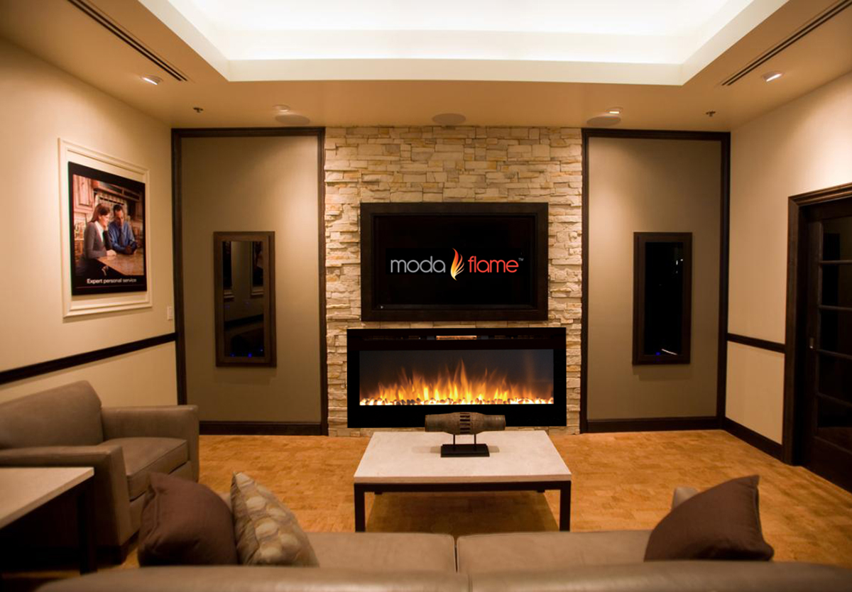 - 50 Inch Cynergy Pebble Stone Built-In Wall Mounted Electric Fireplace