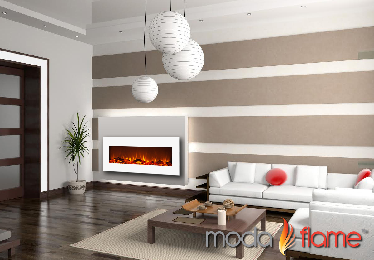 Houston 50 Inch Electric Wall Mounted Fireplace White