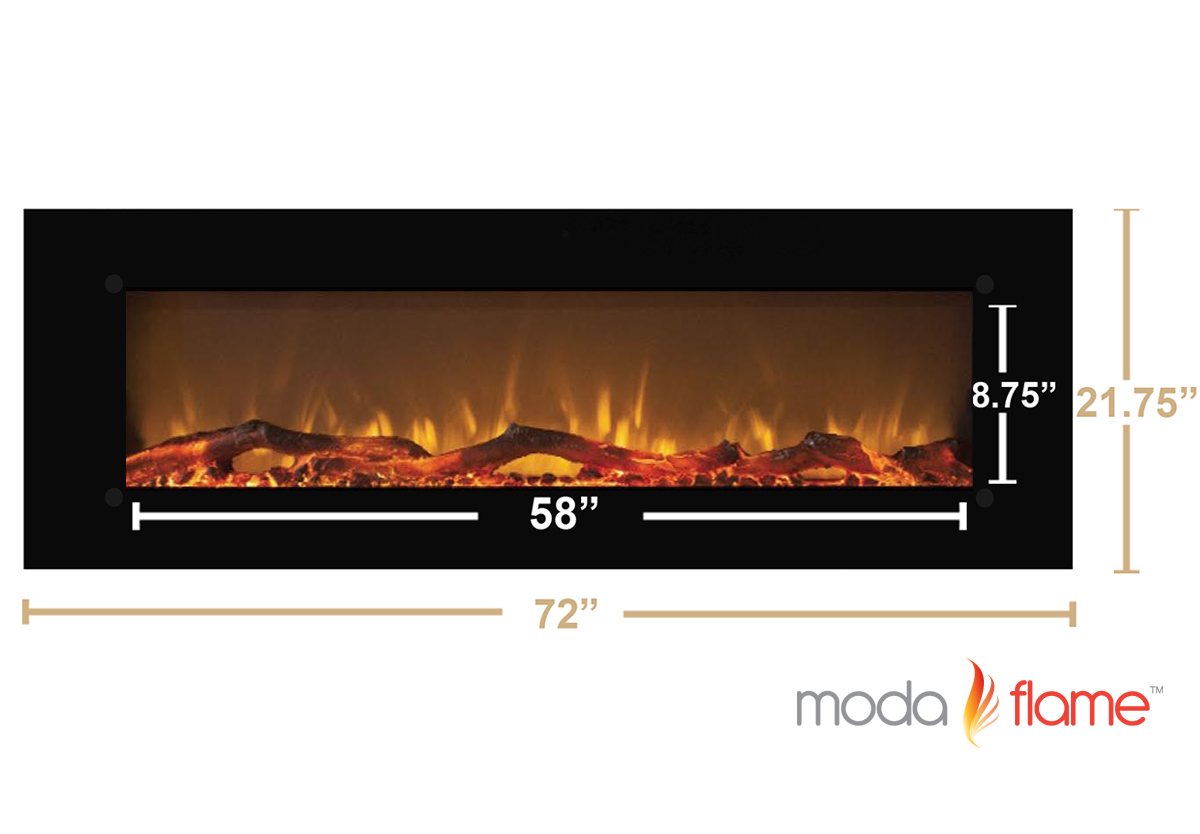 72 Inch Skyline Log Linear Wall Mounted Electric Fireplace