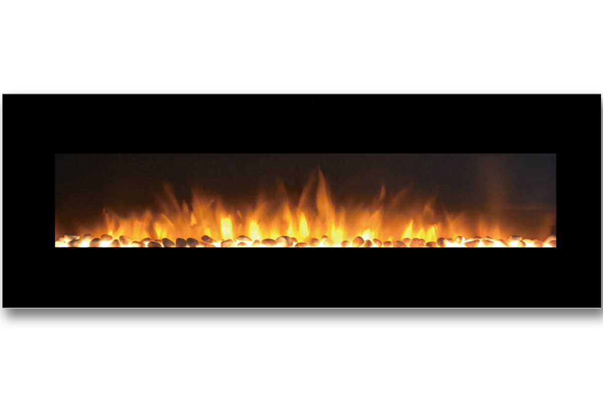 72 Inch Skyline Pebble Linear Wall Mounted Electric Fireplace