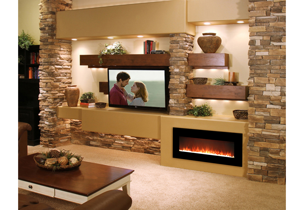 - Essex 50 Inch Crystal Electric Wall Mounted Fireplace Black