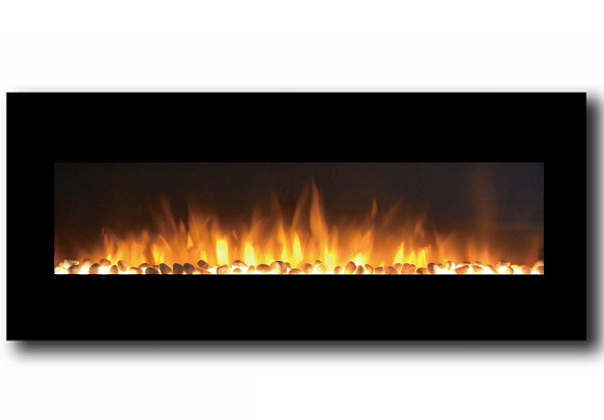 50 Inch Pebble Electric Wall Mounted Fireplace in Black