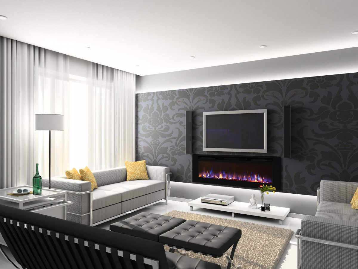 50 Inch Bliss Crystal Recessed Touch Screen Multi-Color Wall Mounted  Electric Fireplace - 50