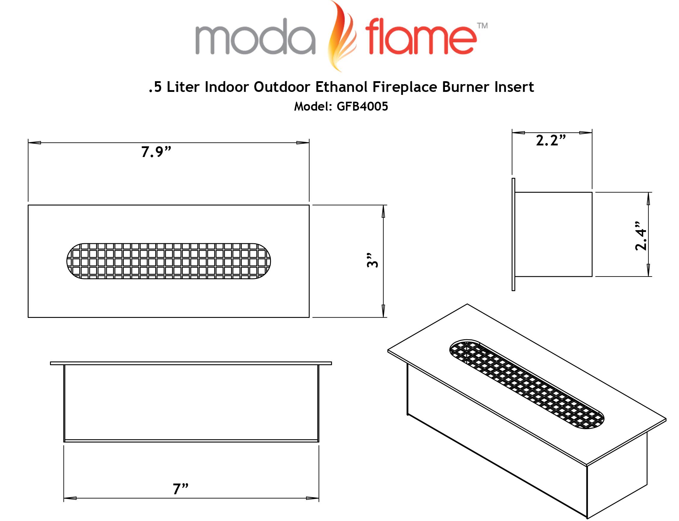 5 Liter Indoor Outdoor Ethanol Fireplace Burner Insert