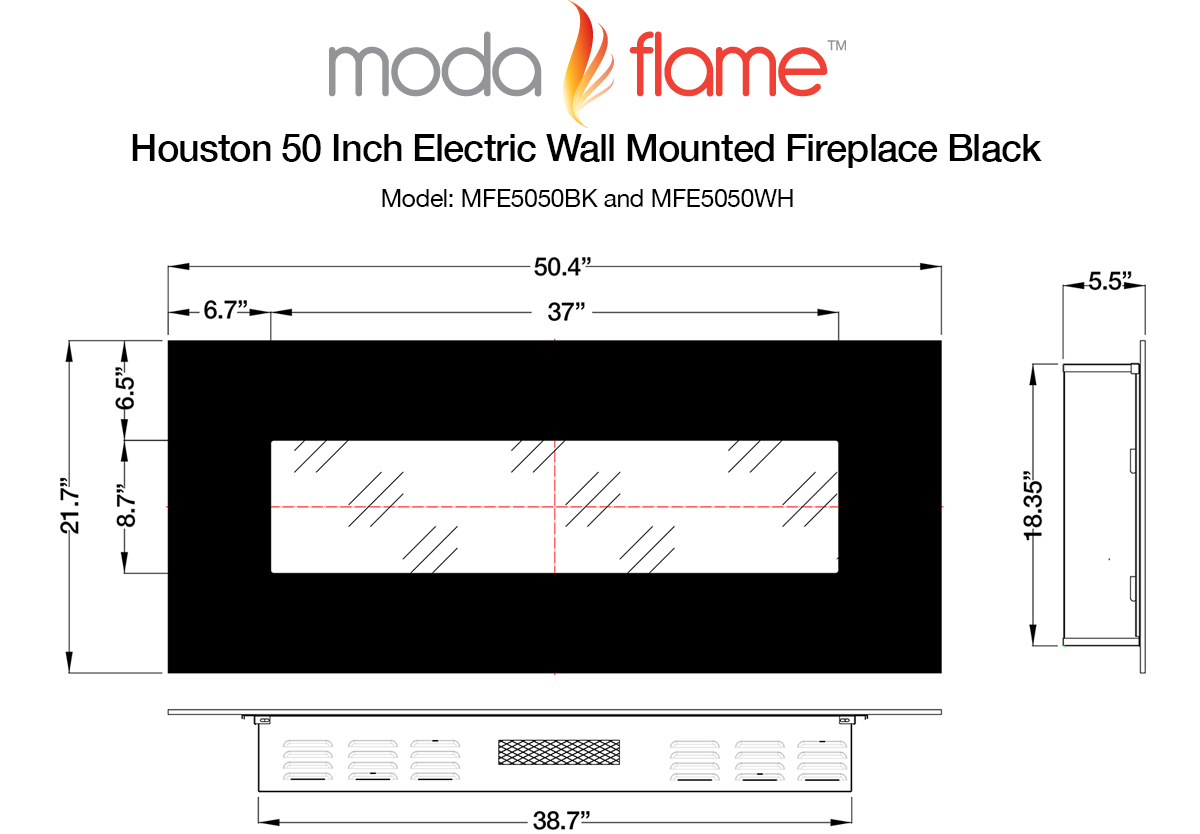 "Welcome to our in depth white electric fireplace review; the Moda Flame Houston 50"" Wall Mounted. This large fireplace also comes in black. It"