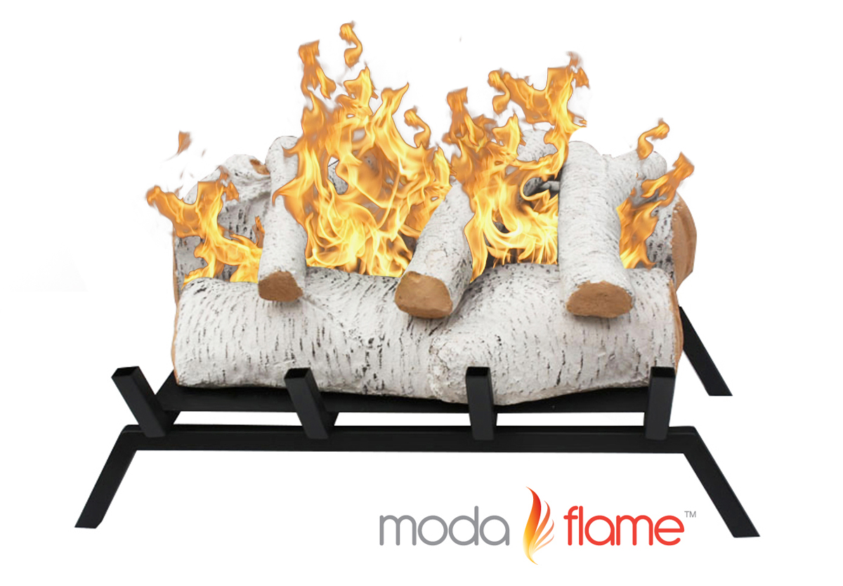 18 inch birch convert to ethanol fireplace log set grate rh modaflame com