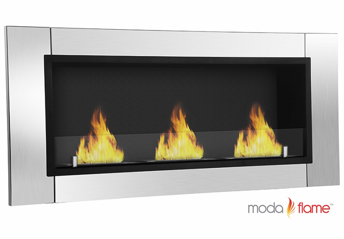 Moda Flame Devant Ventless Bio Ethanol Wall Mounted Fireplace Stainless Steel Ebay