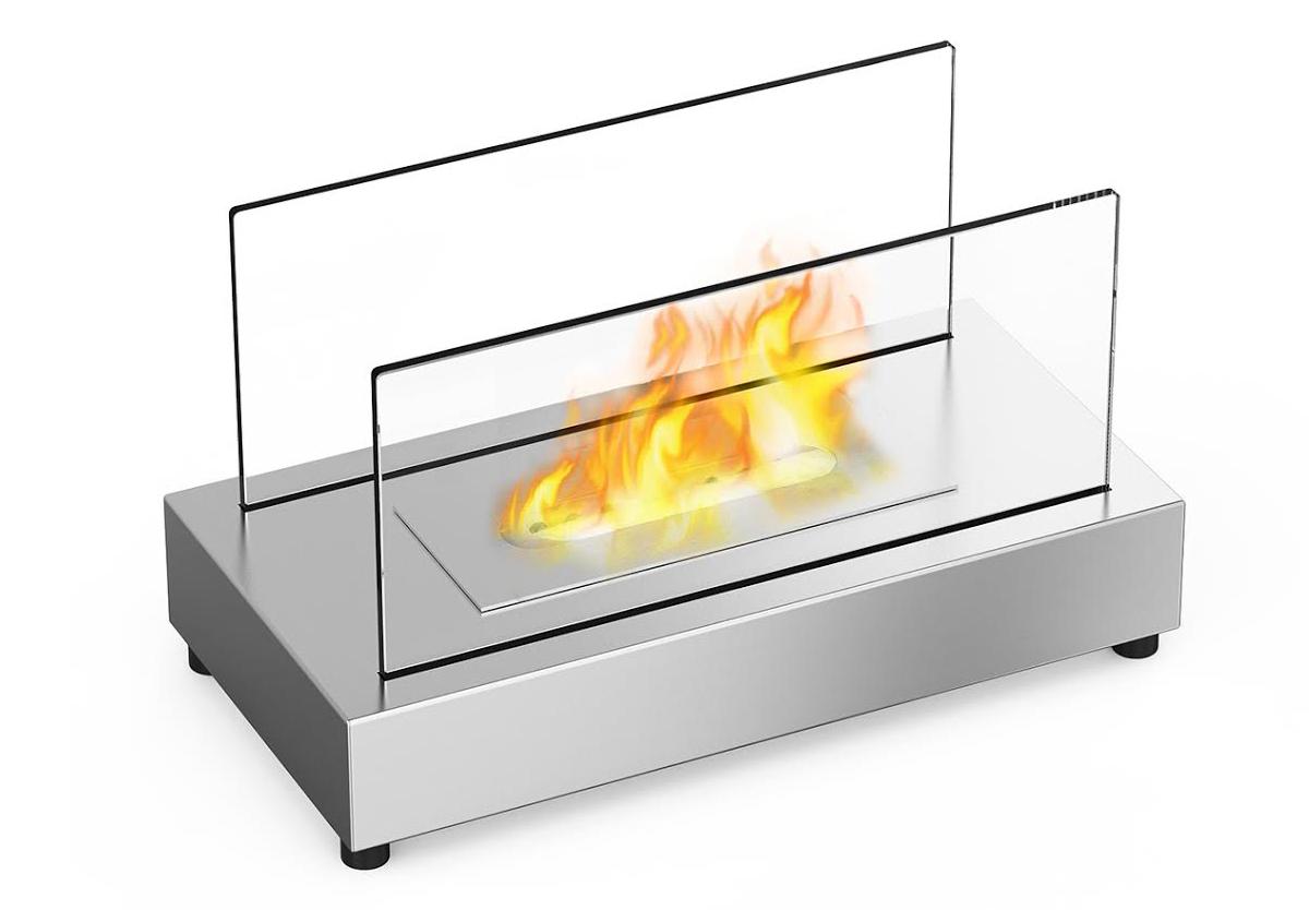 ventless tabletop bio ethanol fireplace in stainless steel - vigo ventless tabletop bio ethanol fireplace in stainless steel