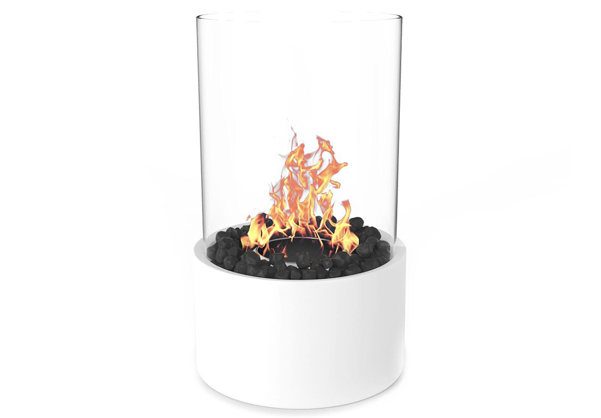 tabletop firepit ethanol fireplace white