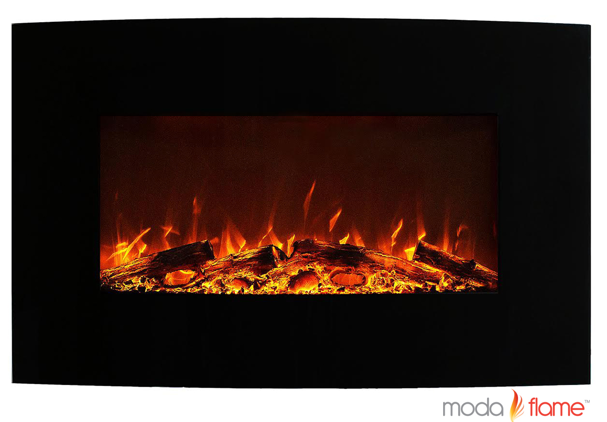 35 Inch Curved Black Wall Mounted Electric Fireplace