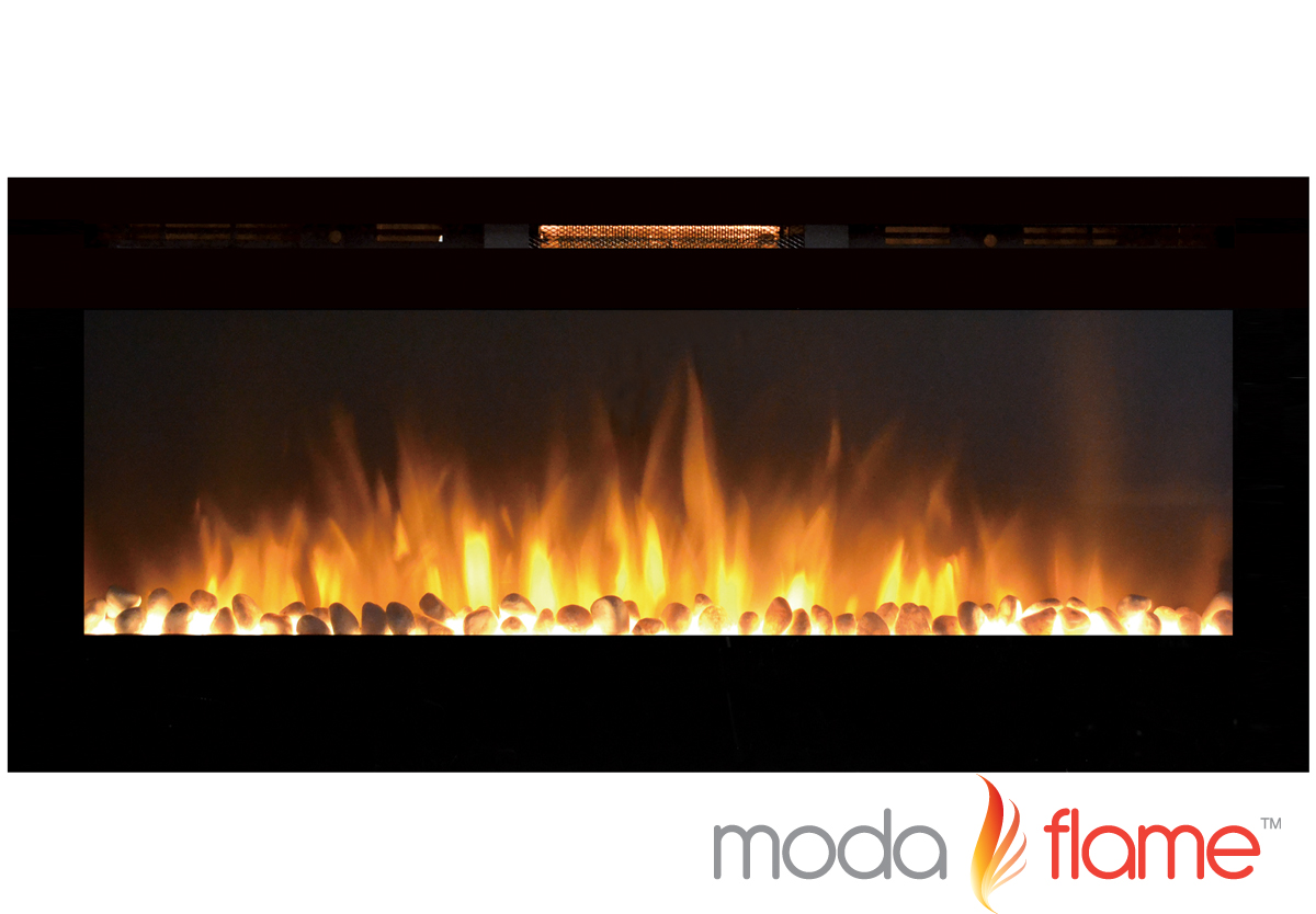 50 Inch Cynergy Pebble Stone Built-In Wall Mounted Electric Fireplace - Inch Cynergy Pebble Stone Built-In Wall Mounted Electric Fireplace