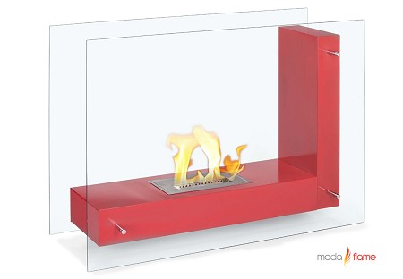 Arta Contemporary Indoor Outdoor L Shaped Ethanol Fireplace in Red