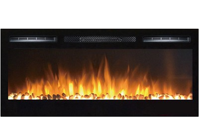 36 Inch Cynergy Pebble Built-In Recessed Wall Mounted Electric Fireplace