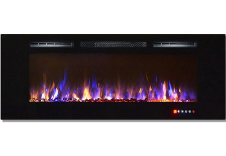 60 Inch Bliss Crystal Recessed Touch Screen Multi-Color Wall Mounted Electric Fireplace