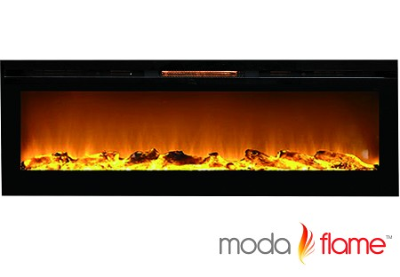 72 Inch Recessed Cynergy XXL Log Built-In Wall Mounted Electric Fireplace
