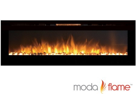 72 Inch Recessed Cynergy XXL Pebble Built-In Wall Mounted Electric Fireplace