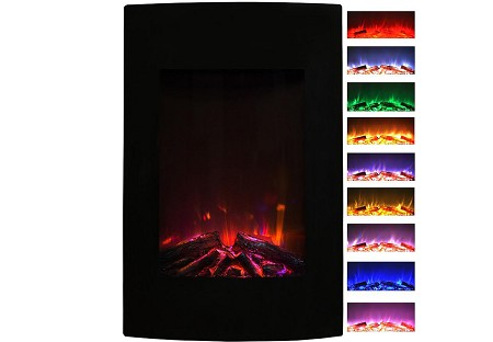 Scoria Curved Black Wall Mounted Electric Fireplace Multi Color