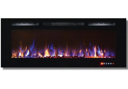 50 Inch Bliss Crystal Recessed Touch Screen Multi-Color Wall Mounted Electric Fireplace
