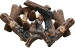 18 PC Ceramic Fireplace Wood Log Set