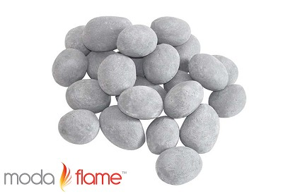 24 Piece Ceramic Fireplace Pebble Set in Gray