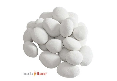24 Piece Ceramic Fireplace Pebble Set in White