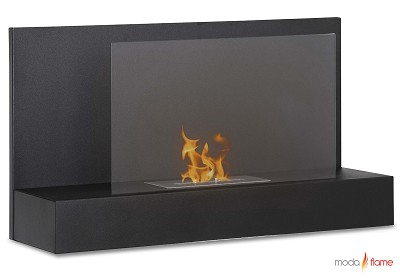 Mira Wall Mounted Ethanol Fireplace in Black