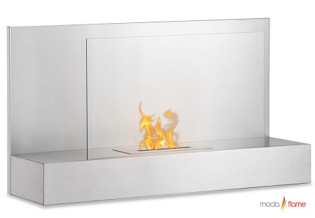 Mira Wall Mounted Ethanol Fireplace in Stainless Steel