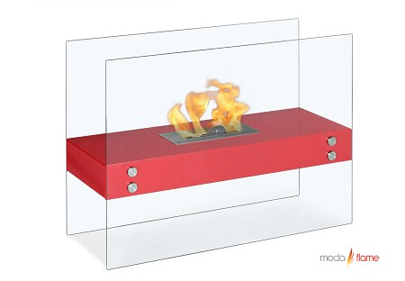 Avila Contemporary Indoor Outdoor Ethanol Fireplace in Red