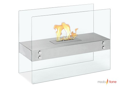 Avila Contemporary Indoor Outdoor Ethanol Fireplace in Stainless Steel
