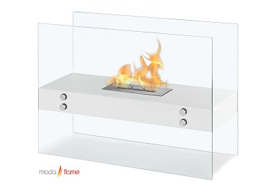 Avila Contemporary Indoor Outdoor Ethanol Fireplace in White