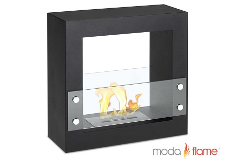 Porta Free Standing Ventless Ethanol Fireplace Black