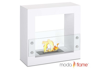 Porta Free Standing Ventless Ethanol Fireplace White