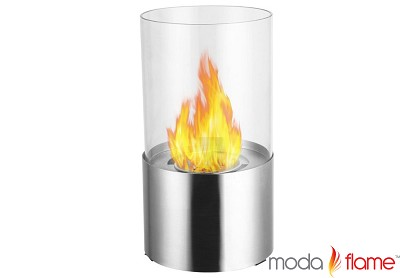 Lit Table Top Firepit Bio-Ethanol Fireplace in Stainless Steel