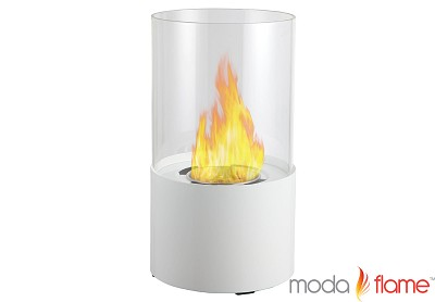 Lit Table Top Firepit Bio-Ethanol Fireplace in White