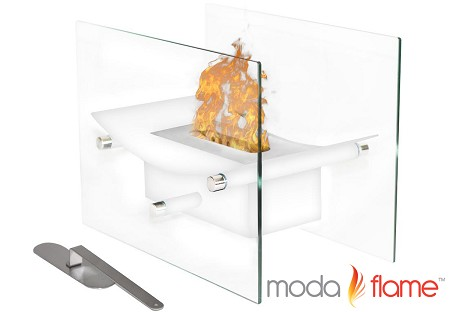 Cavo Tabletop Ventless Bio Ethanol Fireplace in White