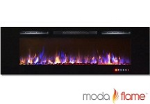 72 Inch Bliss Crystal Recessed Touch Screen Multi-Color Wall Mounted Electric Fireplace
