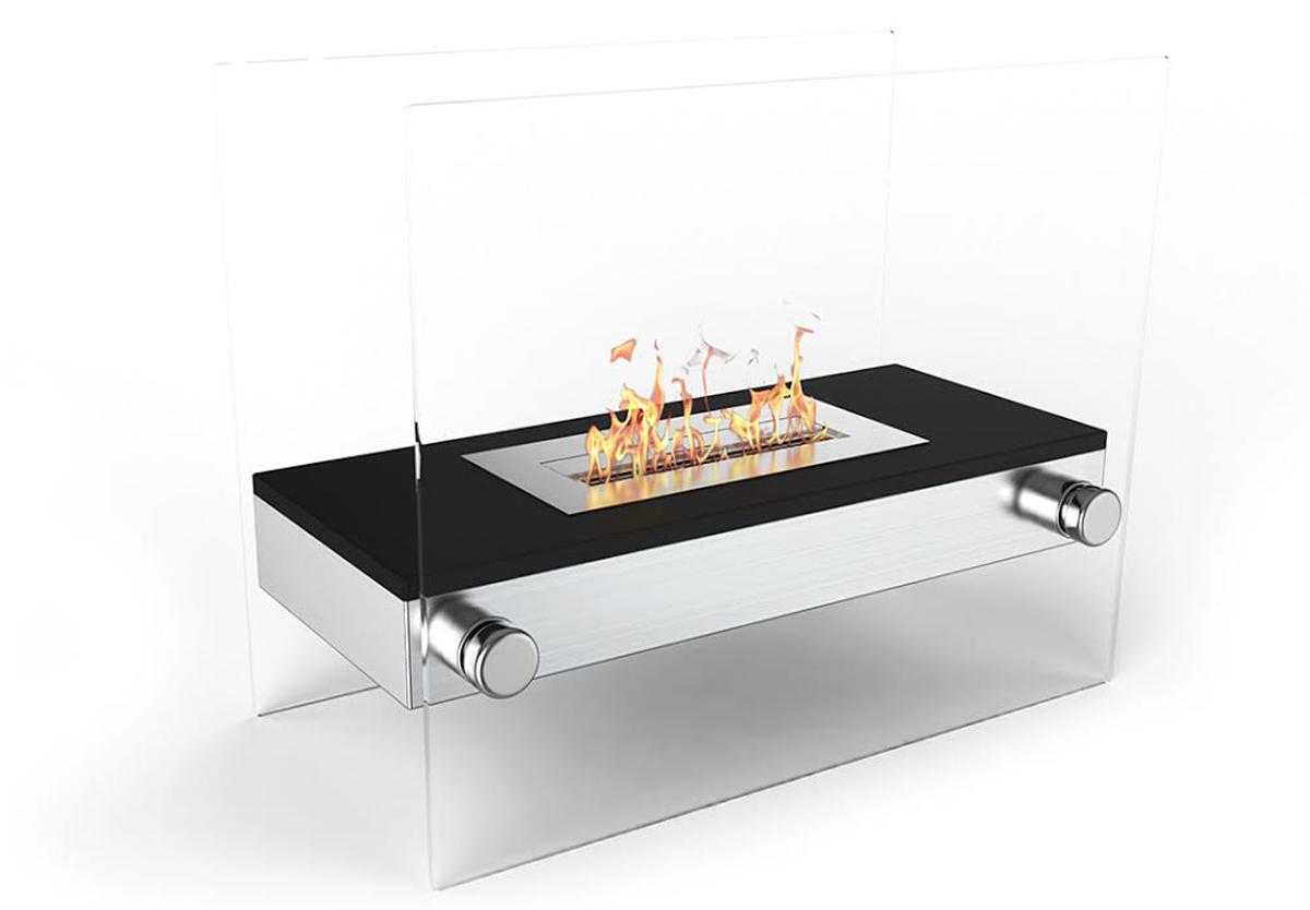Palermo H Indoor Outdoor Firepit Bio Ethanol Fireplace Black